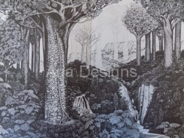 Rei Hamon, Kauri forest, waterfll, ngahere, ghost trees, ferns, pointilism, waiora, forest scene, ancient,